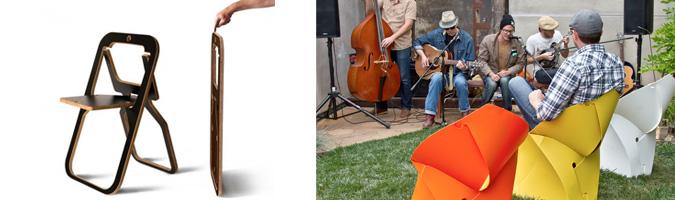Desile: la sedia pieghevole che si può appendere come un quadro. Flux Chair: sottile foglio in polipropilene che piegato forma una sedia.