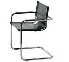 Poltroncina in pelle di vari colori adatta per l'ufficio. Struttura in acciaio cromato, seduta e schienale in vera pelle.